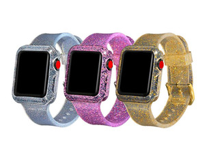 Strap and case Transparent Glitter Waterproof Silicone Band For Apple Watch 38mm 40mm Strap For Apple iWatch Band 42mm 44mm Series 1 2 3 4