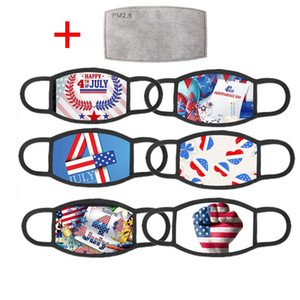 American Election Supplies Face Mask Fashion US Flag Independence Day Printing Washable Reusable Masks With 1 PM2.5 Filter BWE2848