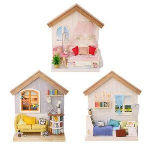Mini Doll House Miniatures Sala de estar DIY Dollhouse Livros Miniature Kit Casa de madeira para crianças Furnitures Maison de Pupoe 201217