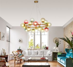 New Nordic Style Glass Sphere DNA Pendant Lamp Creative Molecule Multicolor Restaurant Living Room Bedroom Hanging Lighting