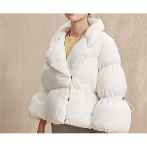 Women's winter down jacket fashion short style over the leader pleated black white red large size hot C1204
