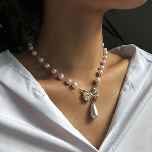 Baroque Pearl Crystal Choker Necklace Double-layer Pearl Bow Bracelet Design High End Sense of Temperament Earrings