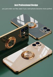 Funda de anillo de metal de tpu de lujo para Coque iPhone 12 11 Pro Max Mini XS XR X 7 8 Plus SE 2020 para iPhone11 Cubiertas de teléfonos blandas FUNDA