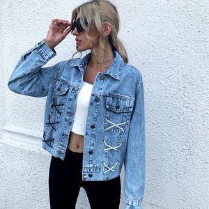 Streetwear Women's fashion loose blue jean jacket rope denim jacket Feamle autumn and winter vintage Denim Jackets Women coats