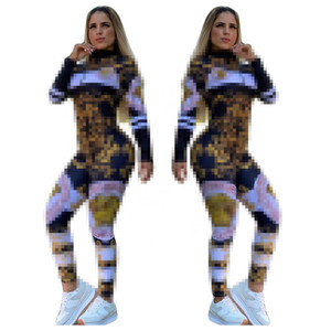 Autunno e inverno Tracksuits Young Lady Sport comodo moda Digital stampato digitale stampato casual due pezzi con cerniera giacca con pantaloni