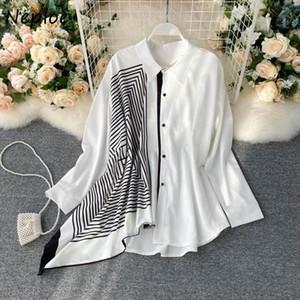 Neploe Irregular Patchwork Shirts Women Korean Fashion Single Breasted Long Sleeve Blouse Loose Casual Turn Down Collar Blusa