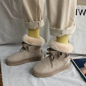 Women 2020 New Snow Boots Women Winter Ladies Warm Fur Suede Flat Woman Fashion Thicken Ankle Boot Female Casual Shoes Plus Size J1203