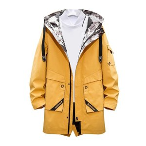 Vogue Men's Long Trench Coat Hooded Outdoor Sports Jacket Casual Windproof Rain Jacket Large Size Long Sleeve Printed Letters