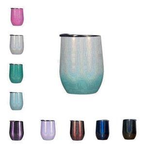 Glitter Wine Tumbler Rainbow Egg Shaped Mugs Double Layer Vacuum Mug Stainless Steel Water Bottle Car Beer Tubler Egg Cup Drinkware FWB2477