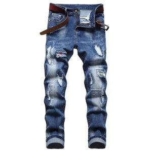 Männer Slim Fit Ripping Jeans Mode Gerade Bein Stretch Distressed Retro Biker Denim Hosen Herren Blau Reguläre Hose Große Größe D668