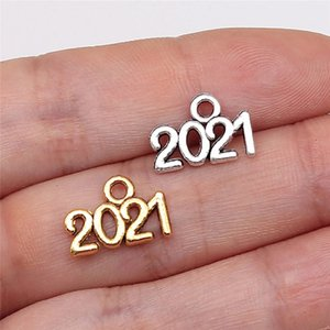 In Stock 2021 Numbers Multicolor Necklace Pendant 14*10mm Pendants Decorations Ancient Silver Alloy Jewelry Accessories Wholesale