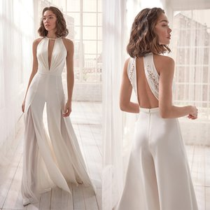 2020 new jumpsuit sexy deep V hanging neck women's pure white open back one-piece skirt pants fashion casual trousers evening dress