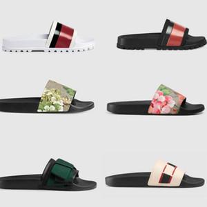 2020 Kauçuk Sandalet Terlik Yeni Çiçek Brokar Erkekler Moda Terlik Kırmızı Beyaz Dişli Dipleri Çevirme Bayan Slaytlar Rahat Terlik AB: 35-45