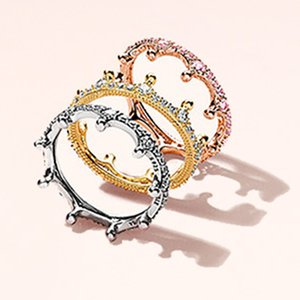 Cross-border burst rose gold powder magic crown stacking ring Europe and the United States fashion dream princess