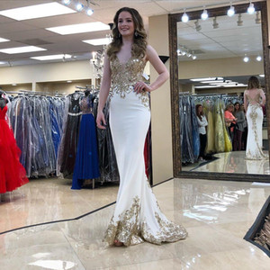 Stunning gold Lace Appliqued Backless Prom Dresses Sheer Deep V Neck Sleeveless Sequined Evening Gowns Floor Length Formal Dress