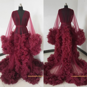 Burgundy Maternity Dresses Tiered Skirts Ruffled Maternity Gown for Photoshoot Boudoir Lingerie Tulle Bathrobe Nightwear Babydoll Robe