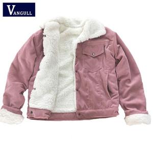 Vangull Corduroy Женская мягкая куртка толстая бархатная куртка зима теплая твердая верхняя одежда с длинным рукавом старинные короткие женские пальто 201026