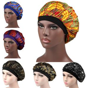 Women Nightcap Wide Stretch Silk Satin Shower Cap Adults Head Cover Sleep Hat Bonnet Hair Care Fashion Accessories DHL Free