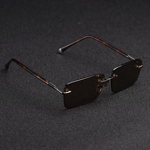 Zerosun Glass Sunglasses Male Rimless Sun Glasses for Men Brown Stone Lens Anti Scratch Brand Designer Vintage Eyewear