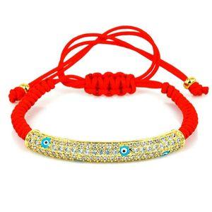 Macrame Bracelet White Zircon Pave CZ Charm Long Tube Bar Bead Red String Evil Eye Bracelet for Women