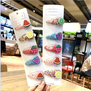 5 adet / takım Renkli Kızlar Çocuklar Meyve Firkete Quicksand Şeffaf PVC Yan Klip Bebek Bb Klip Bobby Pin Barrette Saç Aksesuarları CZ120503