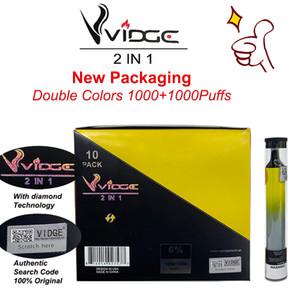Sıcak satıyor 1 cihaz çift renkler vidge 2 1 tek kullanımlık cihaz vape kalem en kaliteli fiyat stokta büyük renkler