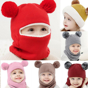 Childrens Caps Plush Fur Knit Hat Warm Winter Hat And Scarf Beret Beanie Casual Headwear Neck Warmer Knitted Hats