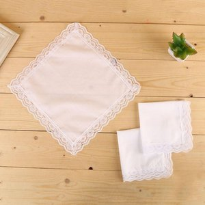White Lace Thin Handkerchief Woman Wedding Gifts Party Decoration Cloth Napkins Plain Blank DIY Handkerchief BWA2096