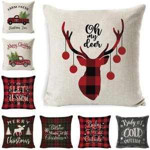 Christmas Pillow Case Plaid Linen Throw Pillow Covers Square Sofa Decorative Headrest Cushion Cover Xmas Pillow Slip Home Sofa Bed Decor