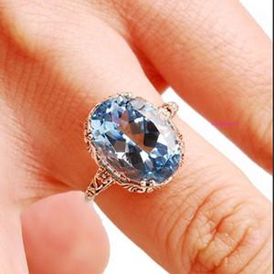 Fashion Women's Bridal Jewelry Aqua Sapphire Ring