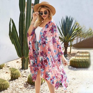 Cover-ups Women Floral Loose Kimono Cardigan Open Front 3 4 Sleeves Scarf Oversized Bohemian 2021 Summer Holiday Bikini Cover Up Beachwear1