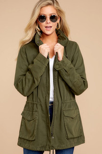 Green Jackets Women Military Jacket Long Sleeve Casual Female Clothes Zip Up Streetwear Drawstring Outerwear Designer Fall Coats