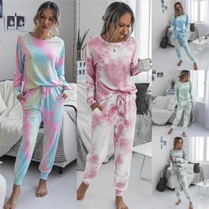 2020 Autumn Winter Womens Long Sleeve Short Pajamas Set Tie Dye Printed Soft Top and Pants PJ Set Nightwear Sleepwear Loungewear