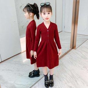 Jupe Parent-enfant Big Wool Enfants Moyen Long Coréen Filles Sweater Sweater Drs