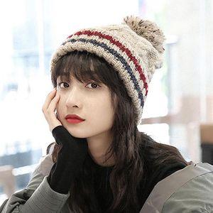 High Quality Beanies Acrylic Fur Ball Cap Pompoms Winter Hat For Women Girl Ski Hat Knitted Warm Skullies Cap