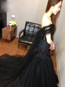Black Mermaid Tulle Black Gorgeous Brush Train Formal Evening Gowns Prom Dresses Lace Celebrity Party Dress