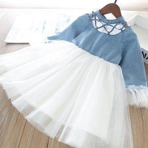 Mädchen Spitze Denim Gaze Kleid 2021 Frühling Neue Kinder Spitze Hohl Rüschen Hülse Tüll Kleid Kinder Cowboy Splicing Lace Princess Kleid A5622