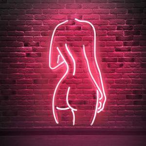 عارية سيدة الزجاج الحقيقي علامات النيون جدار غرفة نوم ديكور حزب ديكور شحن مجاني