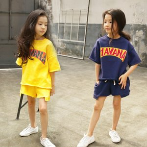 3-16Yrs New Summer Kids Teens Girls Clothing Set 2pcs Sports Track Suits Girls Suit Cotton T Shirts Tees+Kids Pants Shorts CL295 Y1113