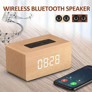 Wooden Wireless bluetooth Speaker Portable HiFi Bass Alarm Clock Subwoofer Soundbar FM Radio Music Player TF USB