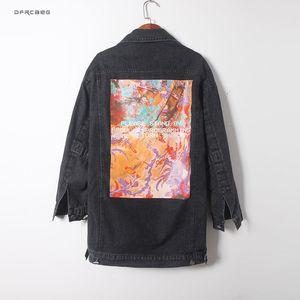 White Loose BF Mid-Long Harajuku Women's Denim Jacket 2020 Spring Streetwear Vintage Abstract Print Ladies Jeans Coats Outwear