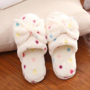 Sevimli Bow Sonbahar Kış Kadın Terlik Ev Giyim Sandalet Kadın Flats Artı boyutu Rahat Platformu Kadın takozları Ayakkabı Isınma