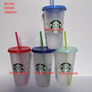 24 oz renk değişimi Tumblers plastik içme suyu bardağı ile dudak ve saman sihirli kahve kupa kostam starbucks gökkuşağı renk değiştirme plastik cu