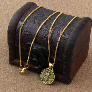 50pcs  lots Ancient gold Round Benedict Medal Religious Charms Pendant Necklaces 23.63inches Chains 18x27mm charms A-179d