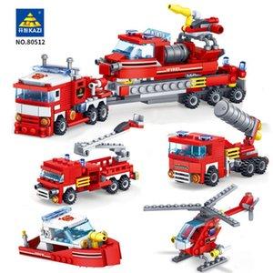 City Bombeiro 348pcs Fogo Fighting 4in1 Helicóptero Trucks Do Carro de Barco Blocos de Construção Brinquedos Educativos para Crianças C0119