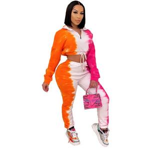Women Tie-dye Tracksuit Woman Outfit Sportwear Set Sweater Suit Running Sport Clothing Unit 2 Pieces Set Jogging Sets Femme Casual Clothes-2