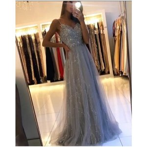 2020 glaring new A-Line grey Prom Dresses with crystal spaghetti straps backless ruched sequined bodice Sweep Train evening gowns