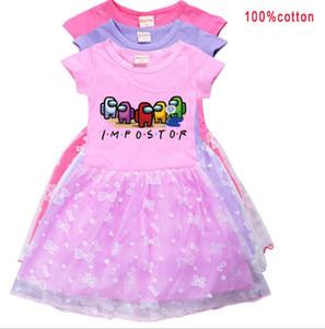 Girls Among Us Cartoon Print Dress New Game Casual Children Clothing Short Sleeve Mesh O-neck Princess Dress Fancy Kids Vestido