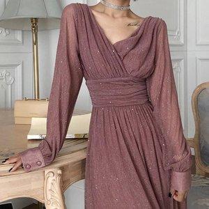 Zawfl Spring Automne Femmes Femmes Robe Sous Tempéramment Vintage Robe Taille Plissée Femelle Manches longue Sexy