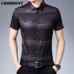 Camicie casuali di Business sociale di Coodrony Business Casual Camisa Masculina Summer Cool Short Sleeve Men Shirt Moda Shirt Still Shirt Uomo S96025